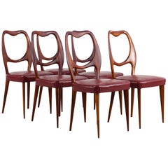 Vittorio Dassi Set of Six Wooden Midcentury Dining Chairs with Red Seats