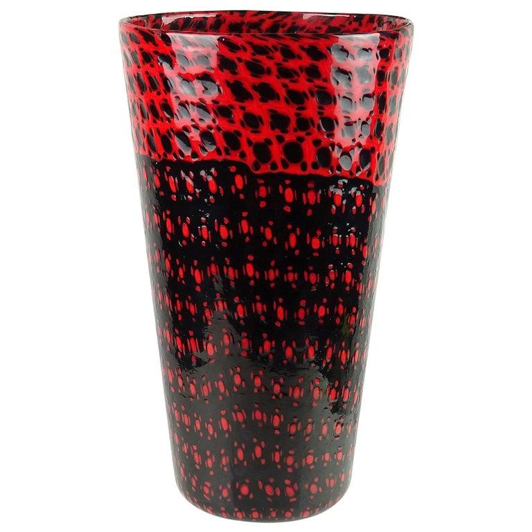 Vittorio Ferro Murano Black Red Murrines Italian Art Glass Flower Vase For Sale