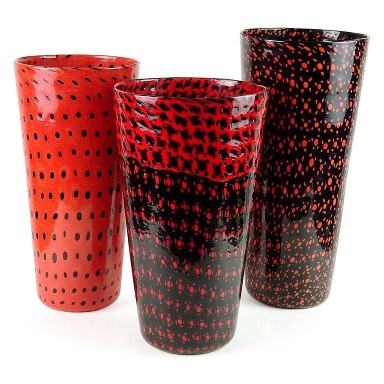 Hand-Crafted Vittorio Ferro Murano Black Red Orange Murrines Italian Art Glass Flower Vase For Sale