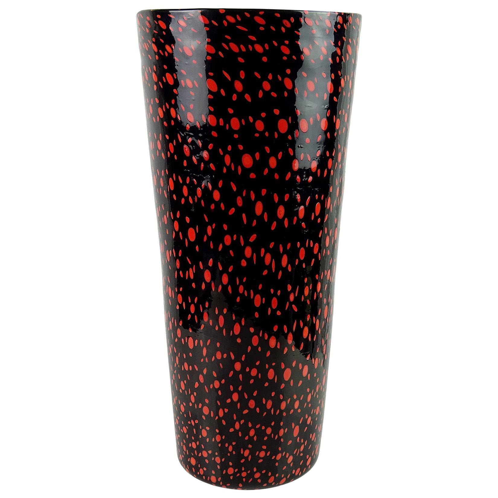 Vittorio Ferro Murano Black Red Orange Murrines Italian Art Glass Flower Vase