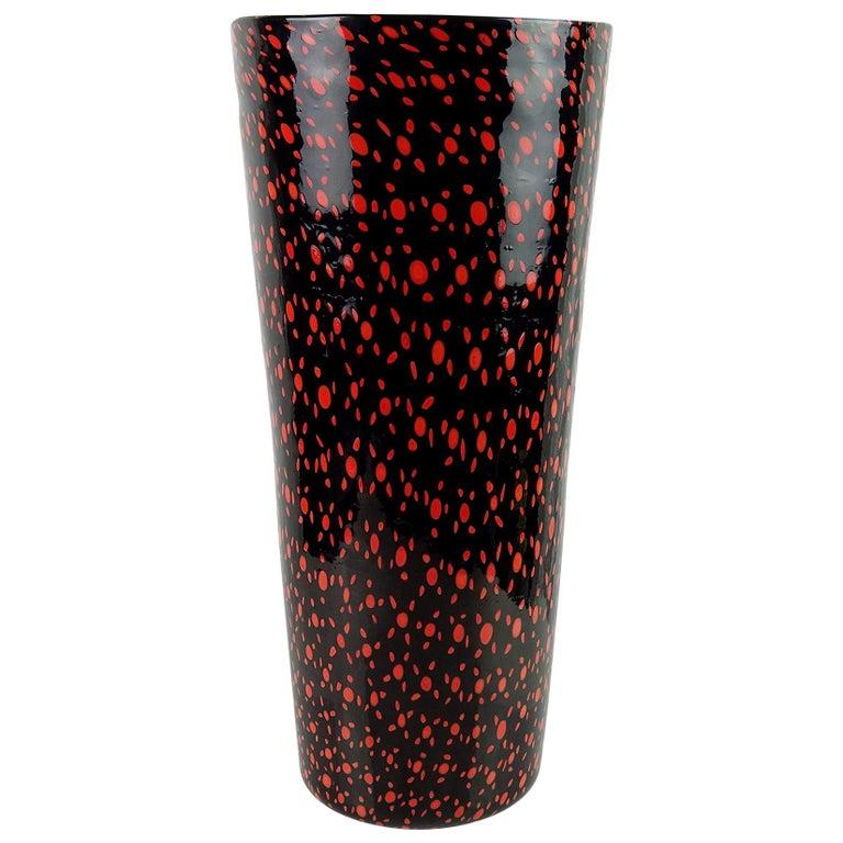 Vittorio Ferro Murano Black Red Orange Murrines Italian Art Glass Flower Vase For Sale