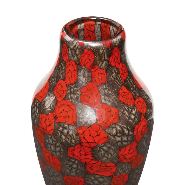 Hand-blown glass vase with unique red, metallic gray and black murrine by Vittorio Ferro, Murano Italy, 1990's. Born in 1932, Vittorio Ferro was a first rate glass master who spent many years working at Fratelli Toso in the 1950's and 60's, blowing