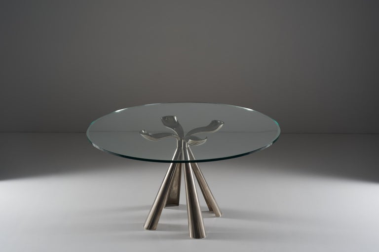 Modern Vittorio Introini Colby Table in Die-Cast Steel and Glass Top, circa 1972