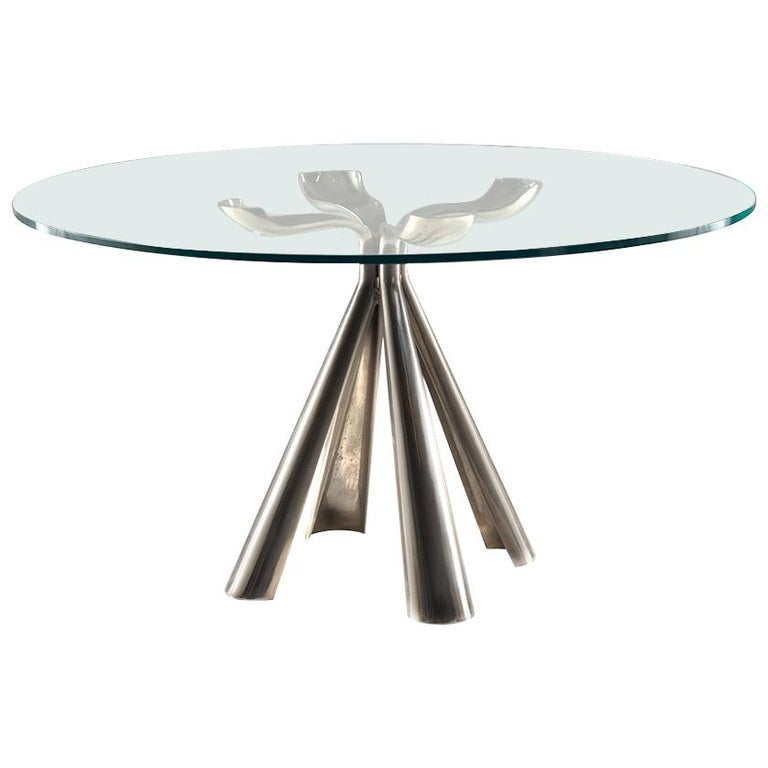 Vittorio Introini Colby Table in Die-Cast Steel and Glass Top, circa 1972