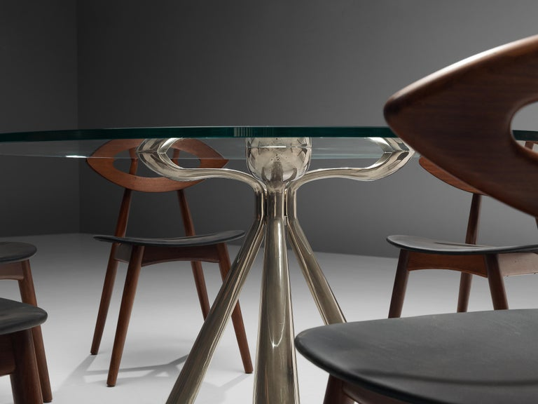 Vittorio Introini Dining Table and Ejvind A. Johansson 'Eye' Dining Chairs For Sale 3