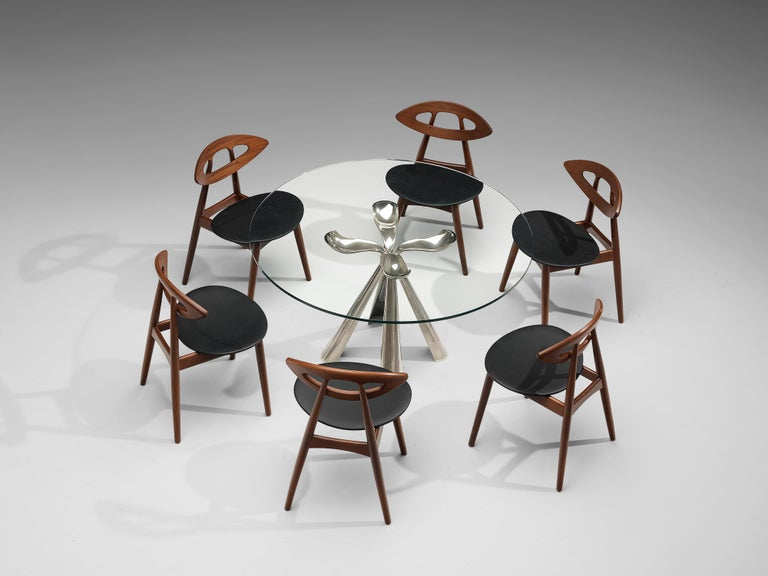 Vittorio Introini Dining Table and Ejvind A. Johansson 'Eye' Dining Chairs For Sale 5