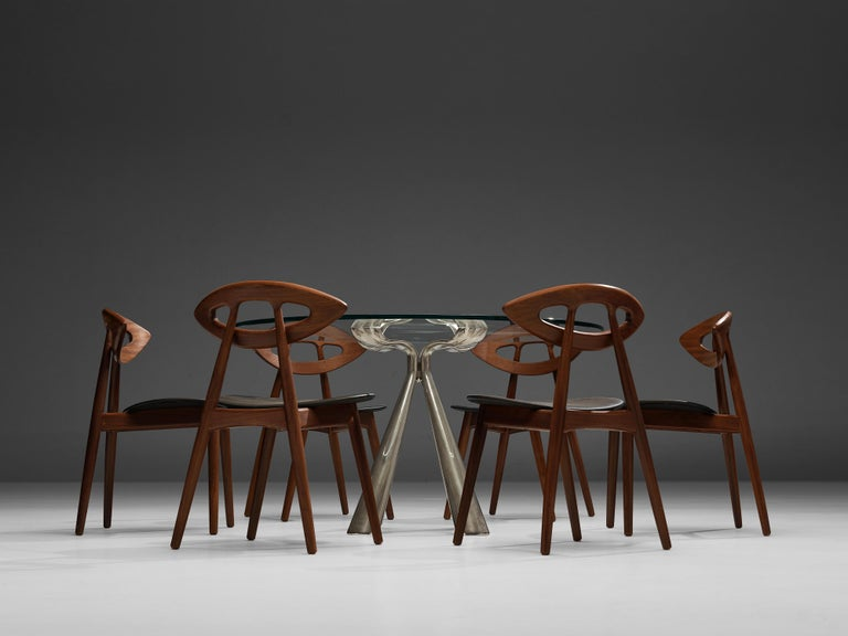 Vittorio Introini Dining Table and Ejvind A. Johansson 'Eye' Dining Chairs For Sale 7