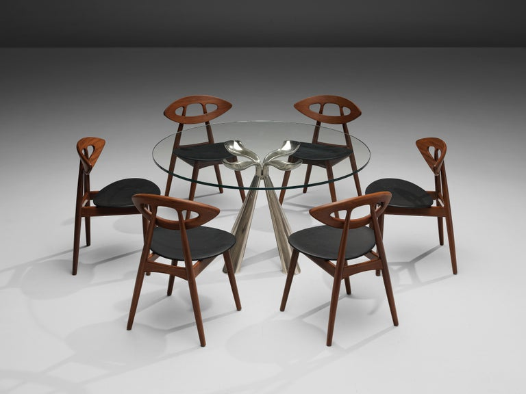 European Vittorio Introini Dining Table and Ejvind A. Johansson 'Eye' Dining Chairs For Sale