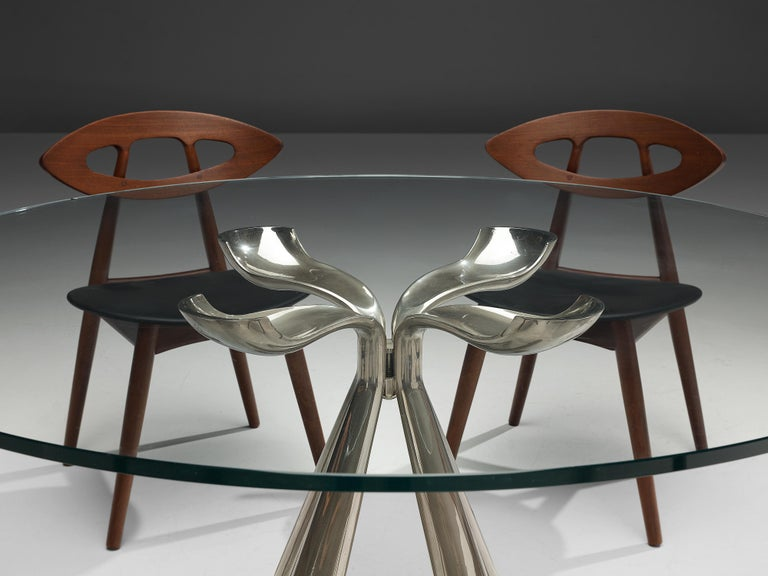 Late 20th Century Vittorio Introini Dining Table and Ejvind A. Johansson 'Eye' Dining Chairs For Sale
