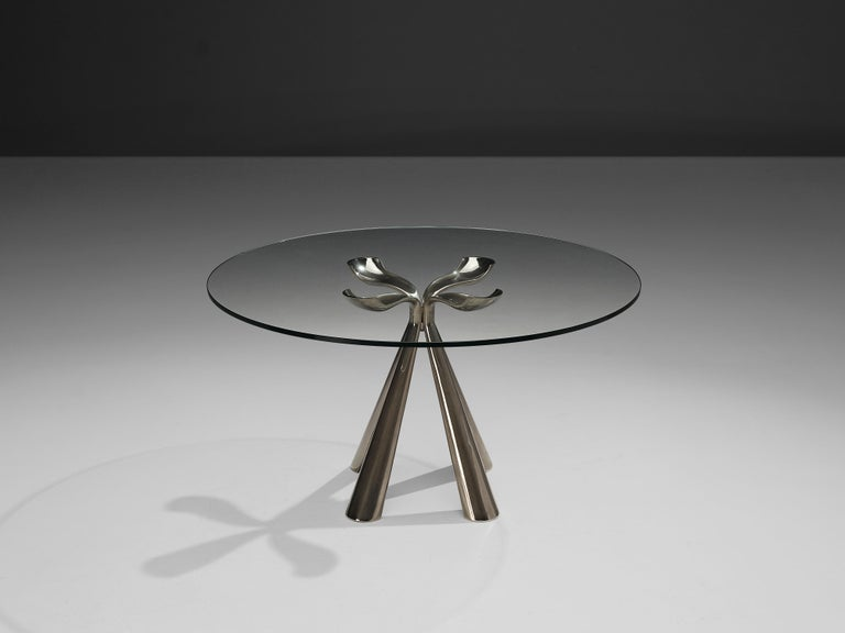 Metal Vittorio Introini Dining Table and Ejvind A. Johansson 'Eye' Dining Chairs For Sale