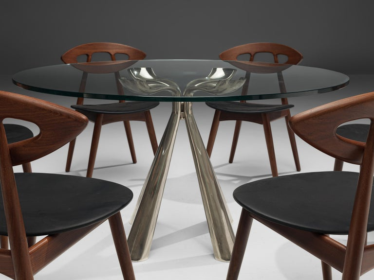 Vittorio Introini Dining Table and Ejvind A. Johansson 'Eye' Dining Chairs For Sale 1