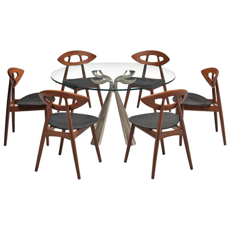 Vittorio Introini Dining Table and Ejvind A. Johansson 'Eye' Dining Chairs For Sale