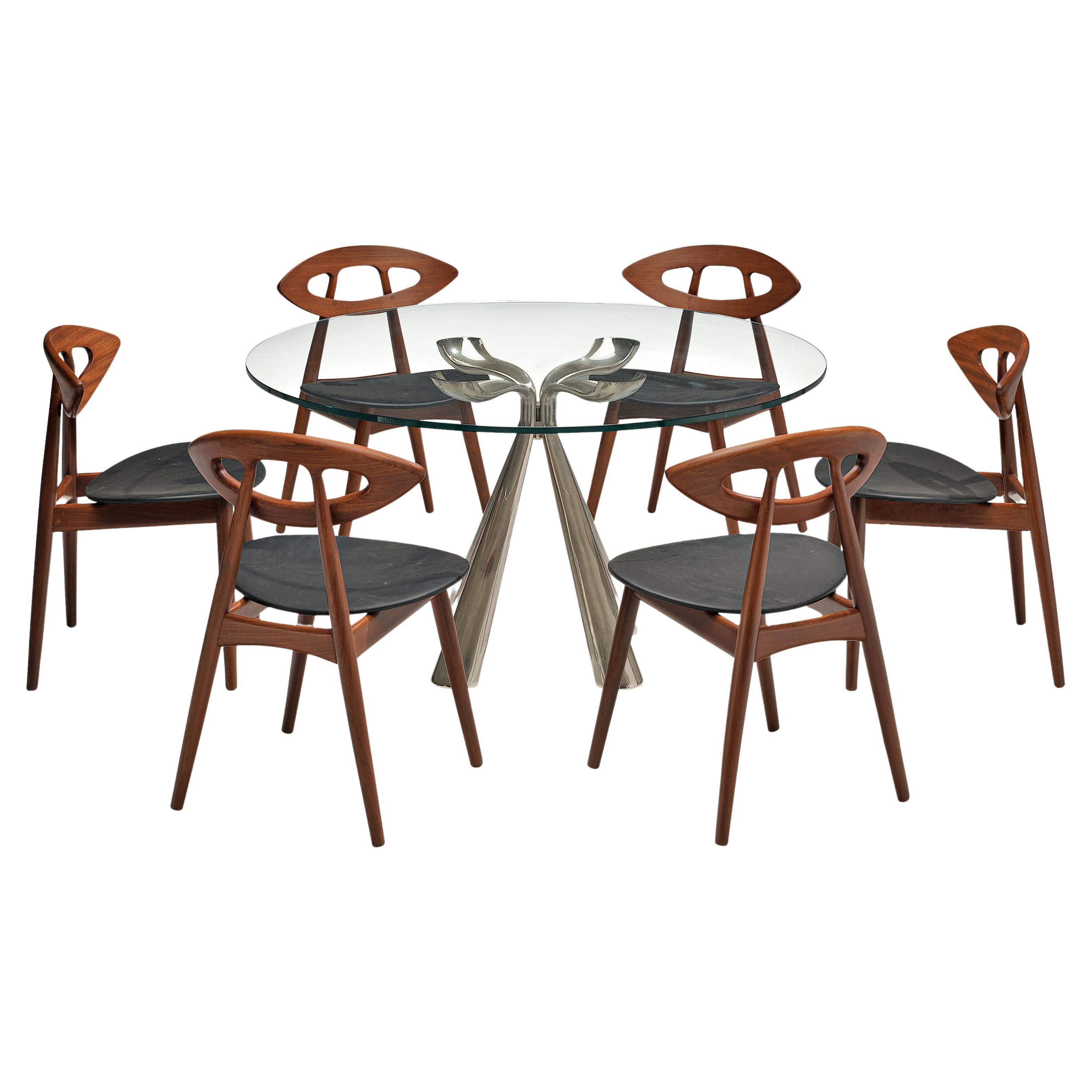 Vittorio Introini Dining Table and Ejvind A. Johansson 'Eye' Dining Chairs