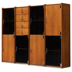 Vittorio Introini for Saporiti Free-Standing Modular Cabinets in Walnut