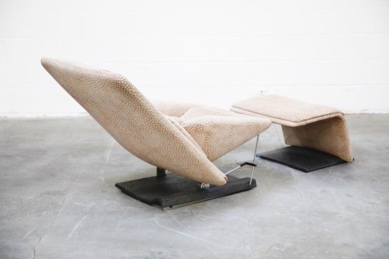 Metal Vittorio Introini for Saporiti Italia Reclining Lounge Chair and Ottoman, 1970s For Sale