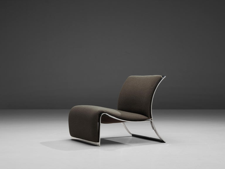 Vittorio Introini for Saporiti, lounge chair, chrome, fabric, Italy, 1960s  Sculptural lounge chair created by the Italian designer Vittorio Introini and manufactured by Saporiti. The lounge chair has a very modern shape while regaining its