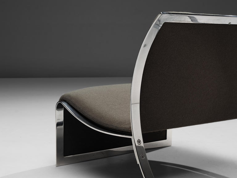 Mid-Century Modern Vittorio Introini for Saporiti Lounge Chair with Frame in Chrome For Sale