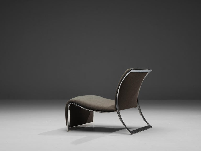 Italian Vittorio Introini for Saporiti Lounge Chair with Frame in Chrome For Sale