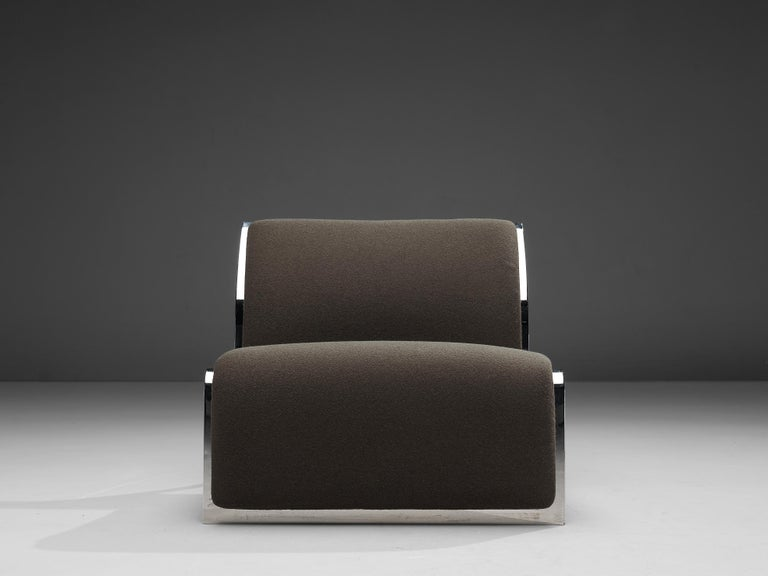 Mid-20th Century Vittorio Introini for Saporiti Lounge Chair with Frame in Chrome For Sale