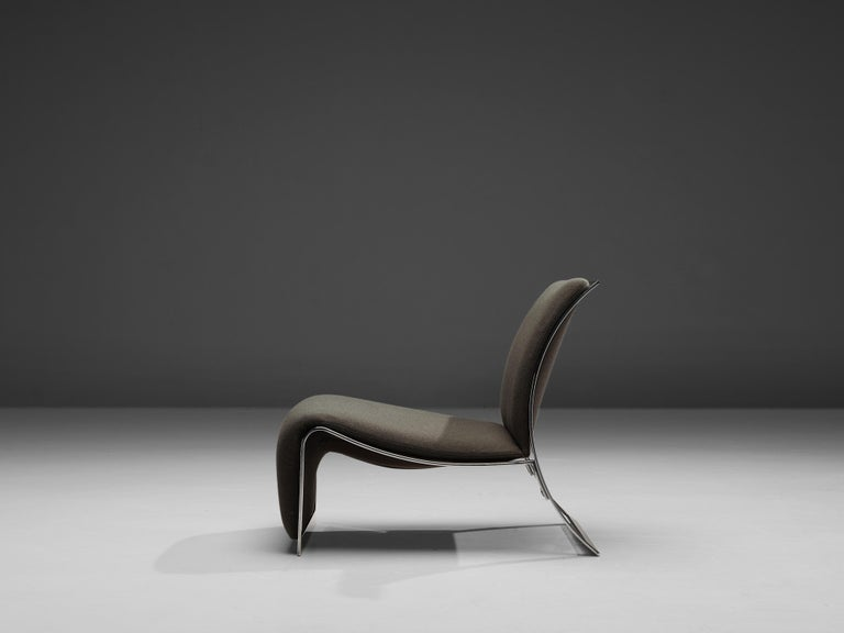 Steel Vittorio Introini for Saporiti Lounge Chair with Frame in Chrome For Sale