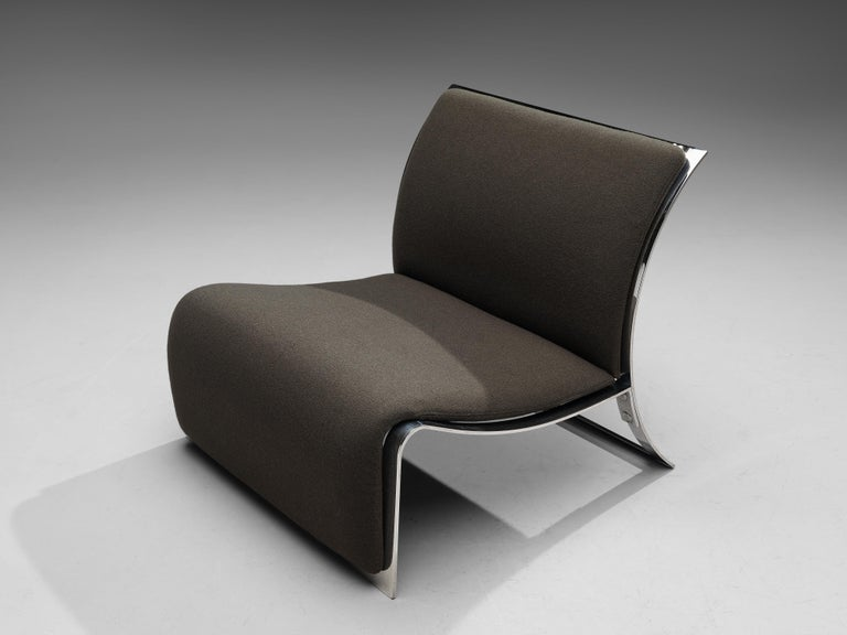 Vittorio Introini for Saporiti Lounge Chair with Frame in Chrome For Sale 1