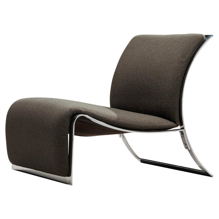 Vittorio Introini for Saporiti Lounge Chair with Frame in Chrome For Sale