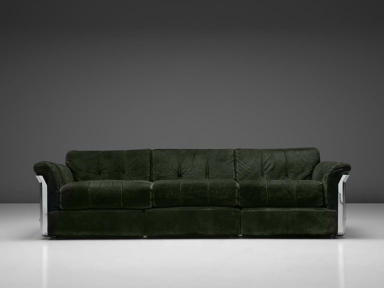 Vittorio Introini for Saporiti, three-seat sofa, navy suede and chrome, Italy, 1969.