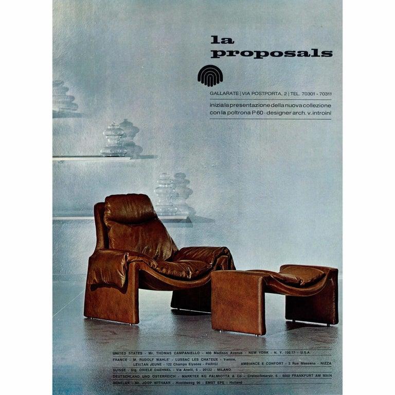 Leather Vittorio Introini, P60, Armchair and Ottoman, La Proposals, 1969  For Sale