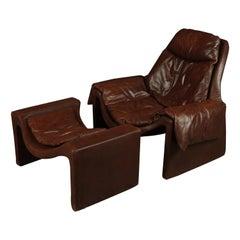 Vittorio Introini P60 Lounge Chair with Ottoman for Saporiti, 1960s