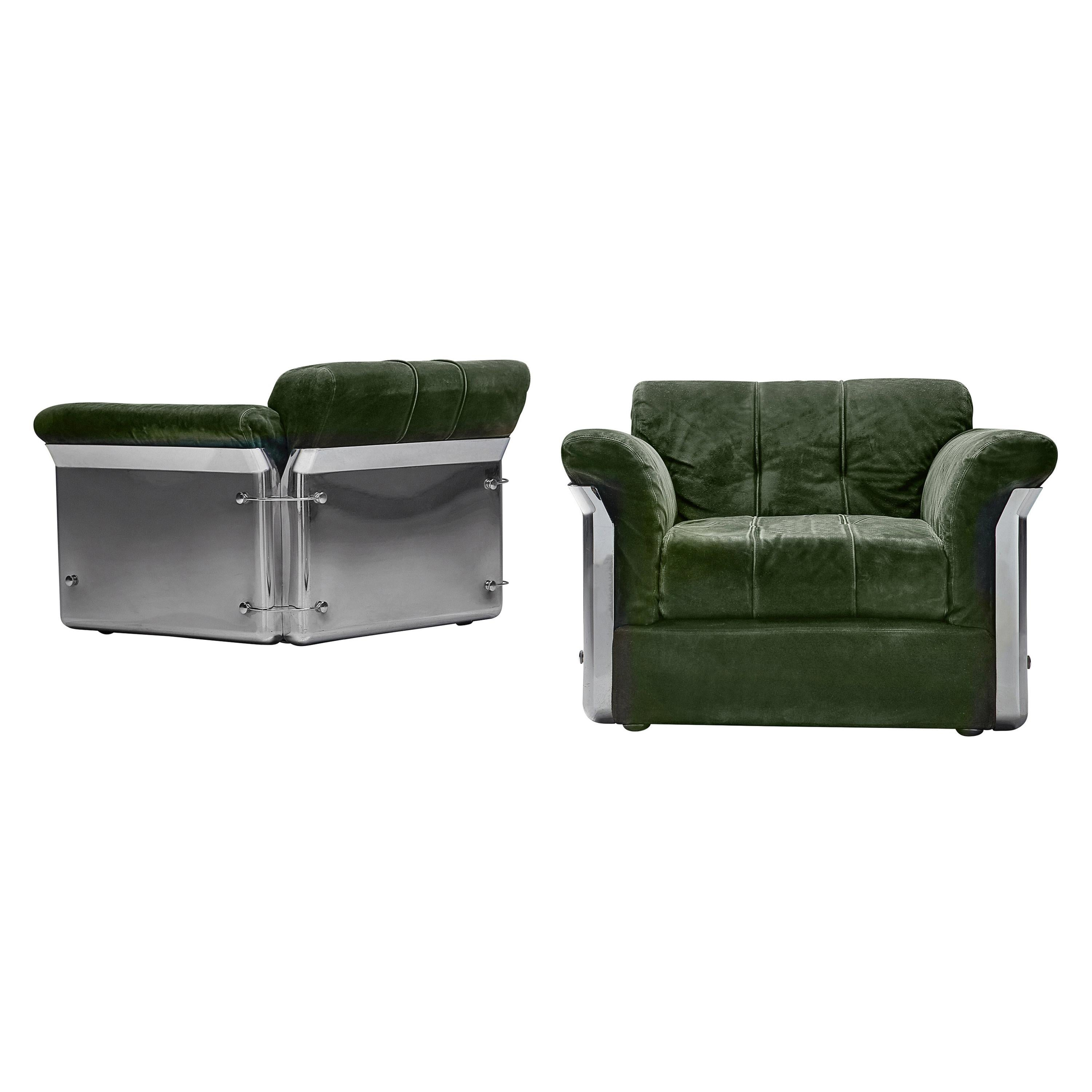 Vittorio Introini Pair of 'Larissa' Lounge Chairs in Green Leather