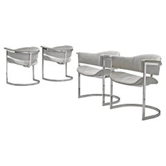 Vittorio Introini Set of Four Dining Chairs in Chromed Steel