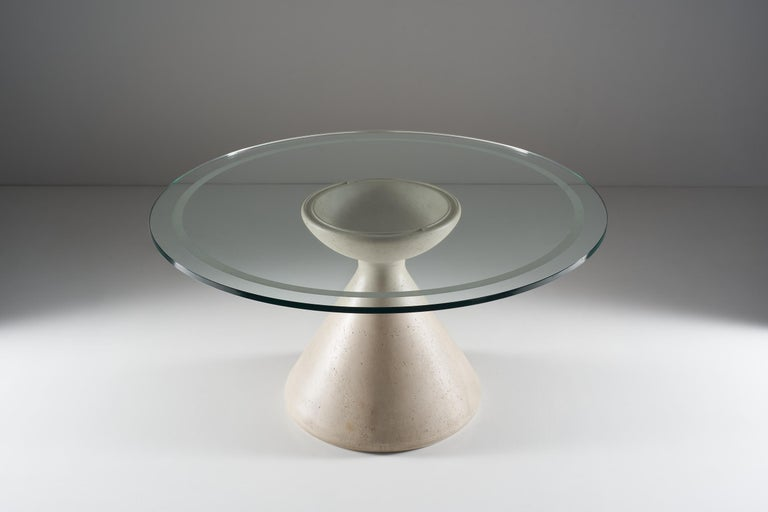 Mid-Century Modern Vittorio Introini Table with Marble Base and Crystal Top, circa 1980 For Sale
