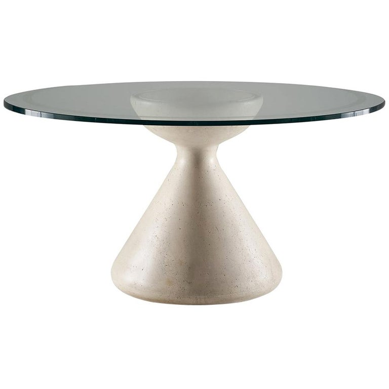 Vittorio Introini Table with Marble Base and Crystal Top, circa 1980 For Sale
