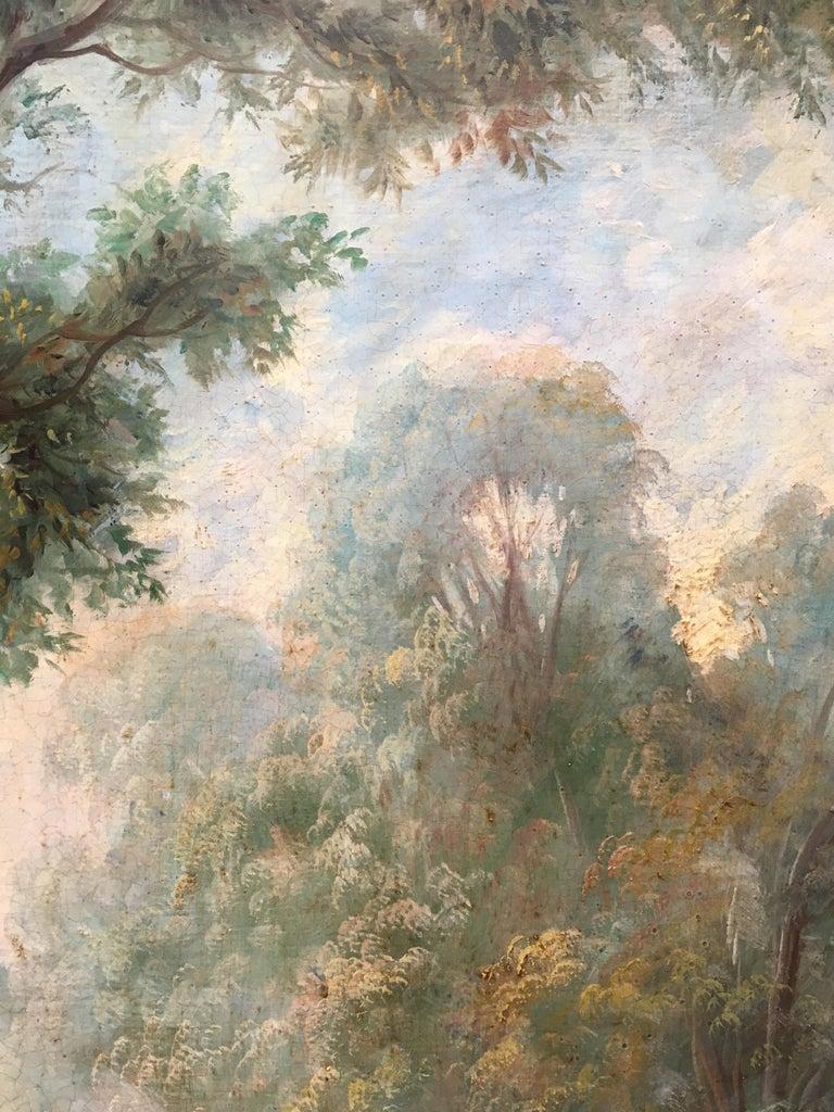 CAPRICCI LANDESCAPE -Roman School -  Italian Oil on Canvas Painting For Sale 7