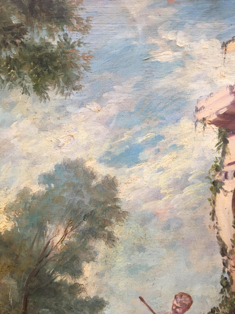 CAPRICCI LANDESCAPE -Roman School -  Italian Oil on Canvas Painting For Sale 8