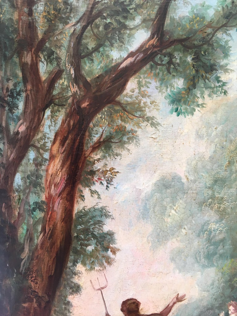 CAPRICCI LANDESCAPE -Roman School -  Italian Oil on Canvas Painting For Sale 9