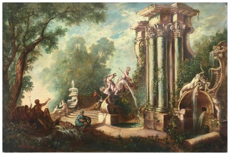 CAPRICCI LANDESCAPE -Roman School -  Italian Oil on Canvas Painting - Brown Figurative Painting by Vittorio Landi
