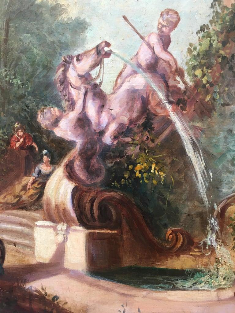CAPRICCI LANDESCAPE -Roman School -  Italian Oil on Canvas Painting For Sale 1