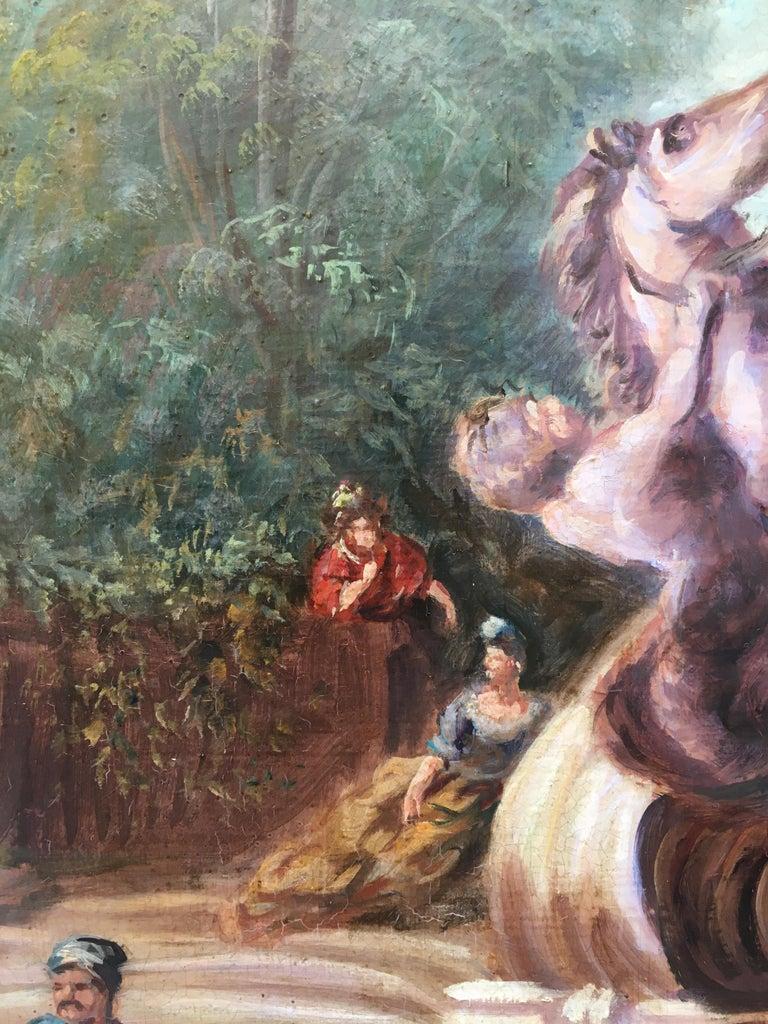 CAPRICCI LANDESCAPE -Roman School -  Italian Oil on Canvas Painting For Sale 2