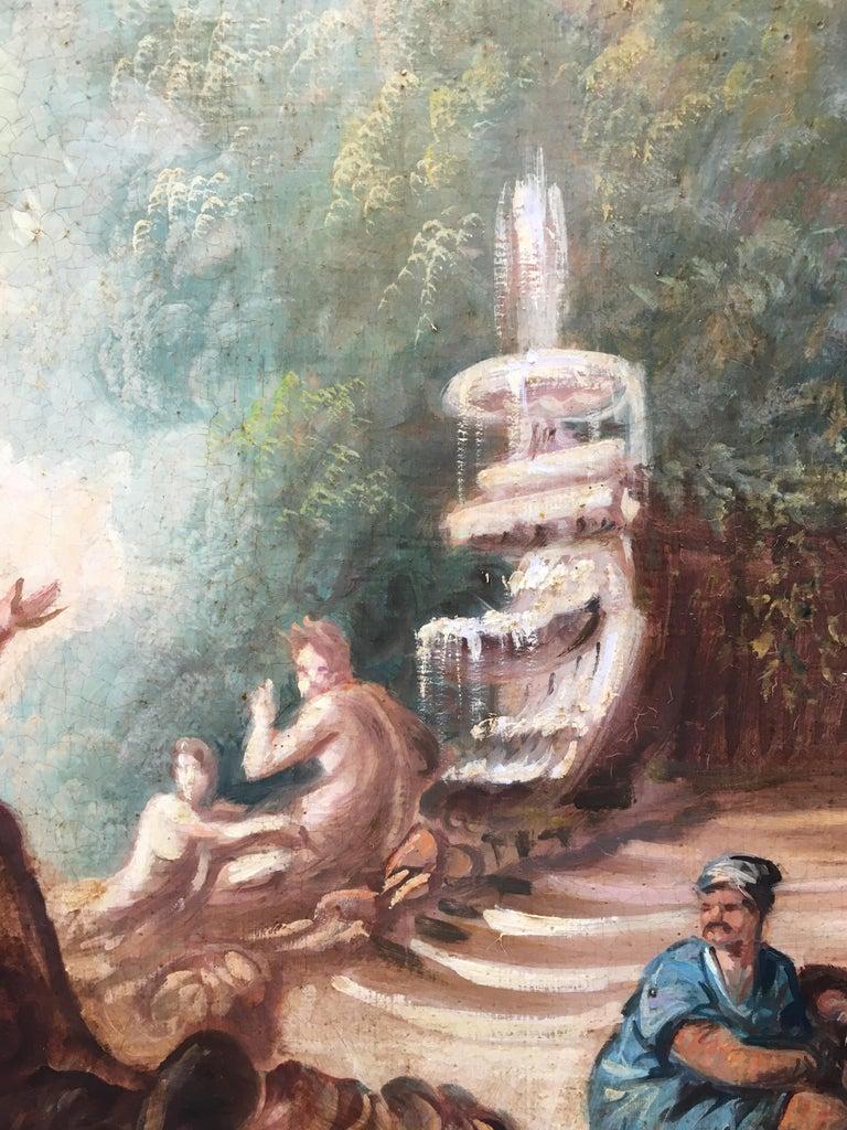 CAPRICCI LANDESCAPE -Roman School -  Italian Oil on Canvas Painting For Sale 3