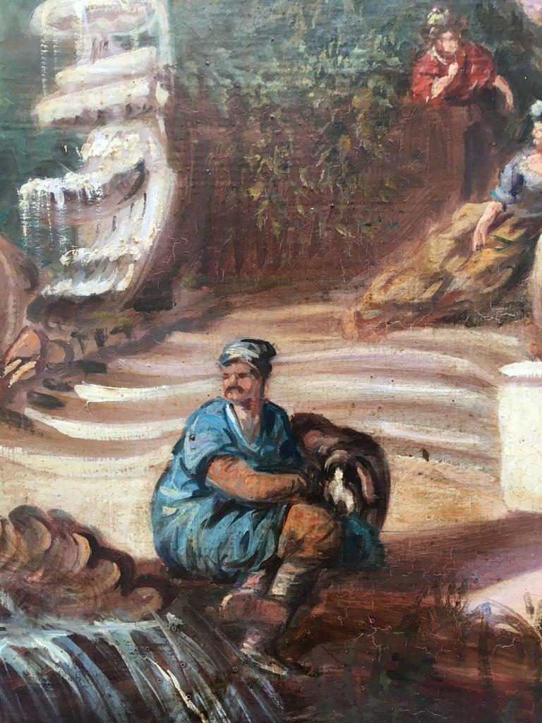CAPRICCI LANDESCAPE -Roman School -  Italian Oil on Canvas Painting For Sale 4