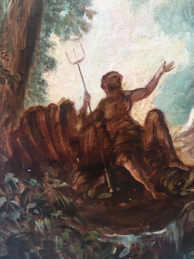 CAPRICCI LANDESCAPE -Roman School -  Italian Oil on Canvas Painting For Sale 5
