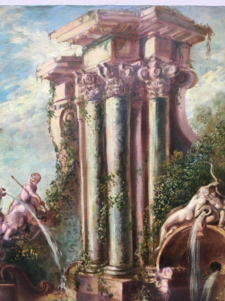CAPRICCI LANDESCAPE -Roman School -  Italian Oil on Canvas Painting For Sale 6