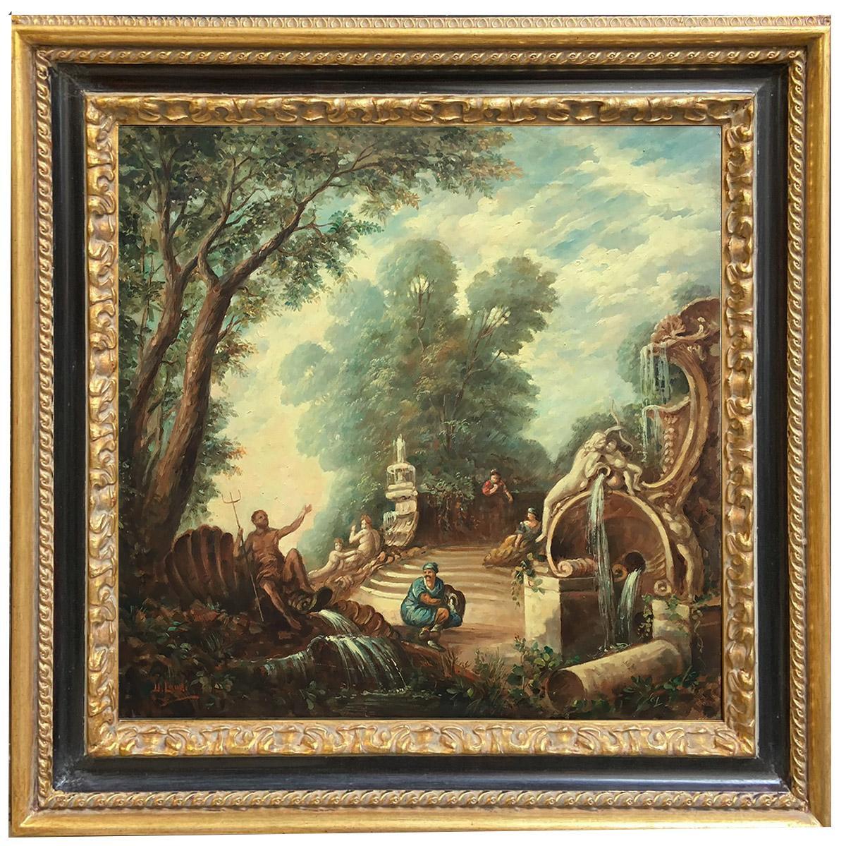 CAPRICCI LANDESCAPE -Roman School - Italian Oil on Canvas Painting