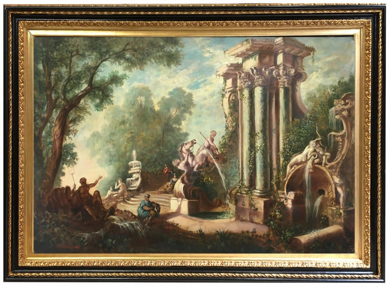 Vittorio Landi Figurative Painting - CAPRICCI LANDESCAPE -Roman School -  Italian Oil on Canvas Painting