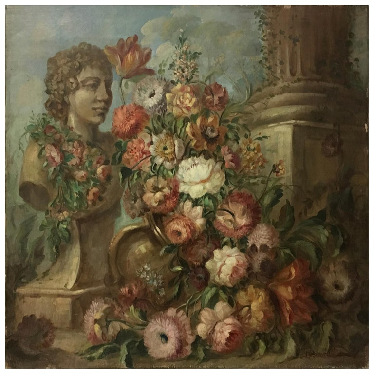 FLOWERS AND RUINS - Vittorio Landi Italian still life oil on canvas painting - Brown Still-Life Painting by Vittorio Landi