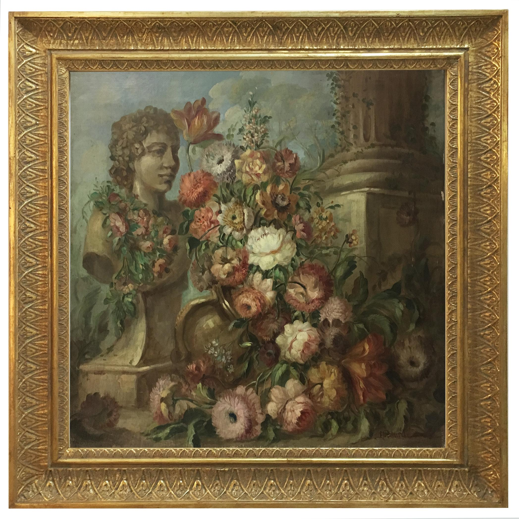FLOWERS AND RUINS - ItalianSchool - Still Life Oil on Canvas Painting