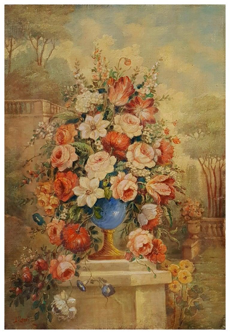 FLOWERS- In the Manner of  Gasparo Lopez dei Fiori - Neapolitan School - Paint - Painting by Vittorio Landi
