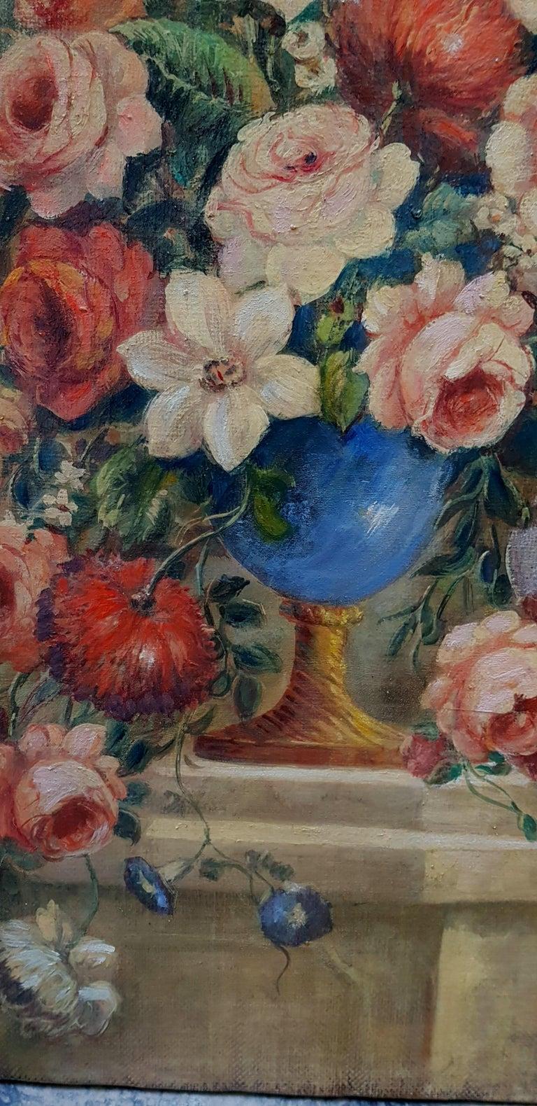 FLOWERS- In the Manner of  Gasparo Lopez dei Fiori - Neapolitan School - Paint - Old Masters Painting by Vittorio Landi