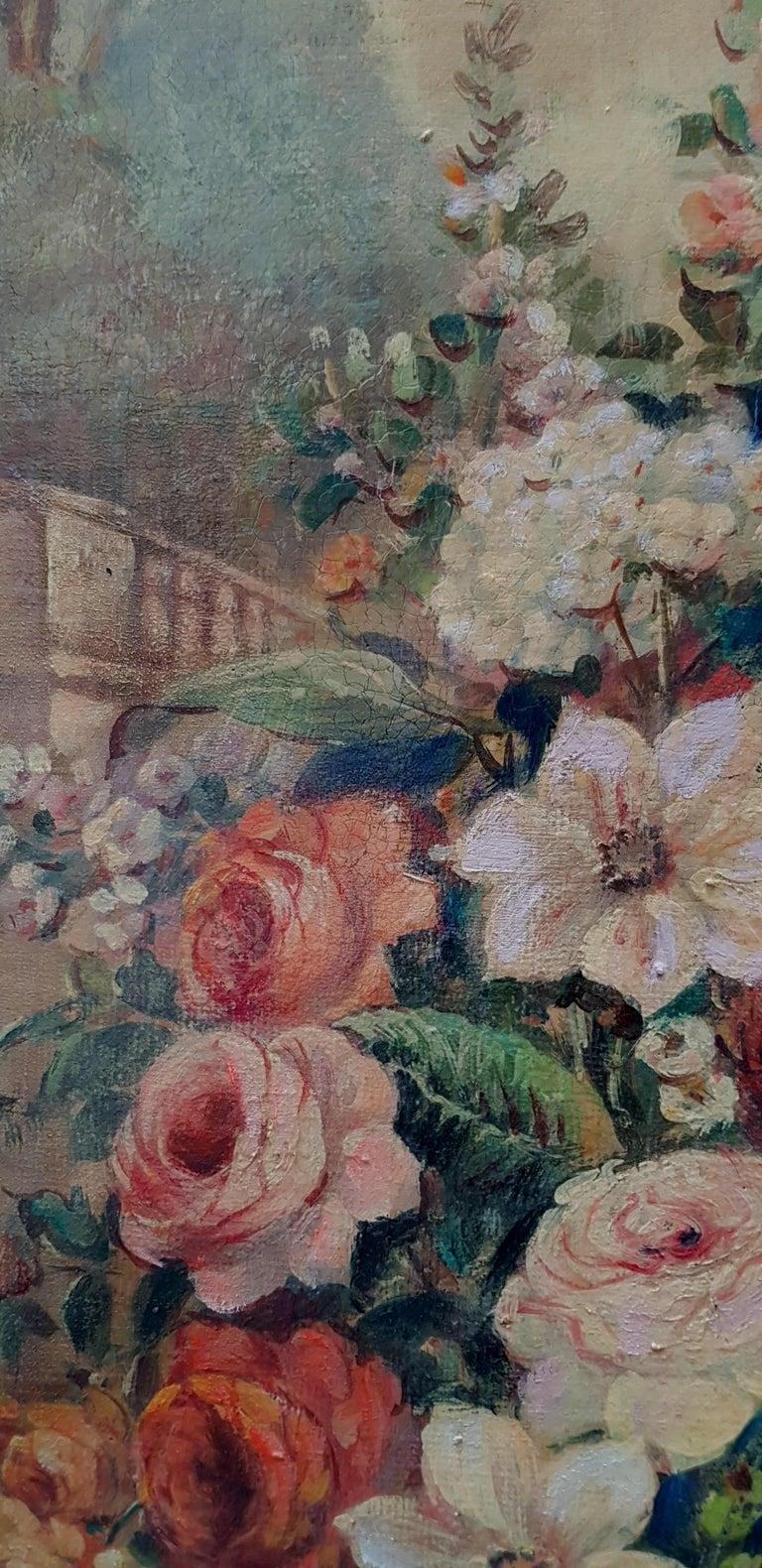 FLOWERS- In the Manner of  Gasparo Lopez dei Fiori - Neapolitan School - Paint - Brown Still-Life Painting by Vittorio Landi